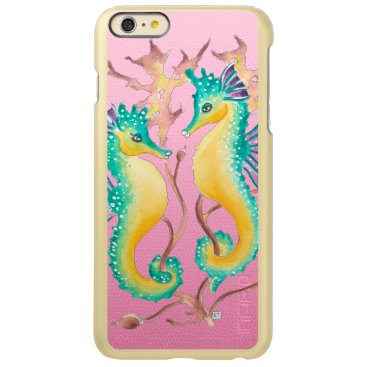 Beach Themed seahorses pink stained glass incipio feather® shine iPhone 6 plus case