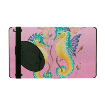 Beach Themed seahorses pink stained glass iPad covers