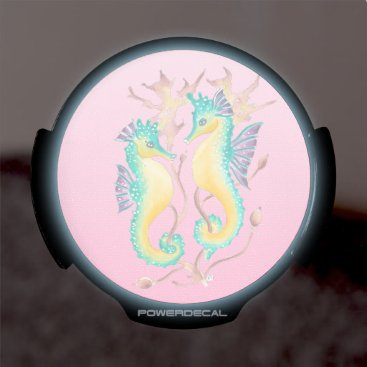 Beach Themed seahorses pink stained glass LED car decal