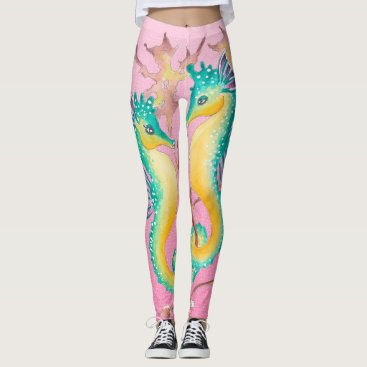 Beach Themed seahorses pink stained glass leggings
