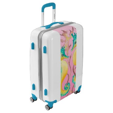 seahorses pink stained glass luggage