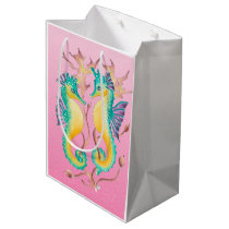 seahorses pink stained glass medium gift bag