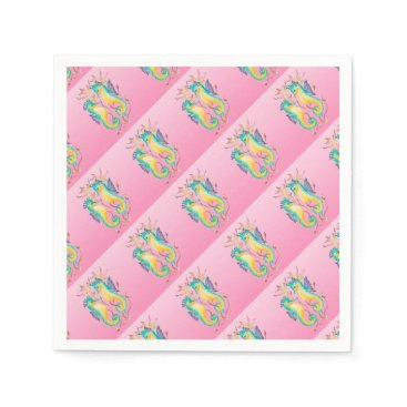 Beach Themed seahorses pink stained glass napkin