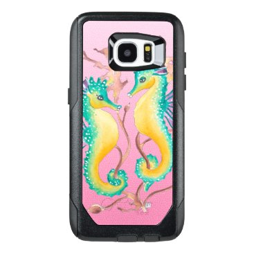 Beach Themed seahorses pink stained glass OtterBox samsung galaxy s7 edge case