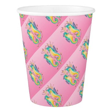 Beach Themed seahorses pink stained glass paper cup