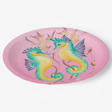Beach Themed seahorses pink stained glass paper plate