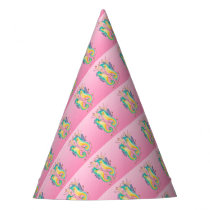 seahorses pink stained glass party hat