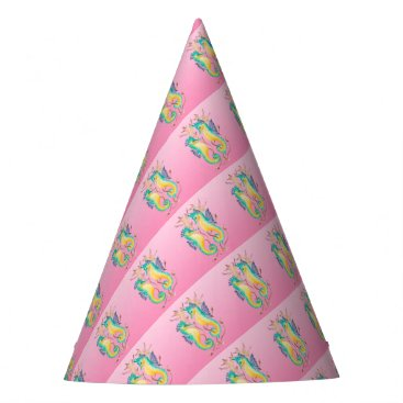 Beach Themed seahorses pink stained glass party hat
