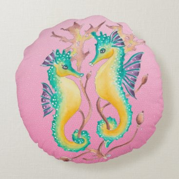 Beach Themed seahorses pink stained glass round pillow