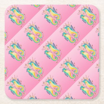 Beach Themed seahorses pink stained glass square paper coaster
