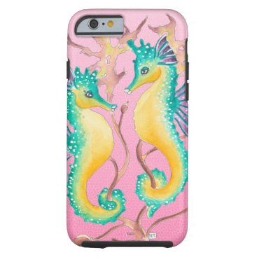 Beach Themed seahorses pink stained glass tough iPhone 6 case
