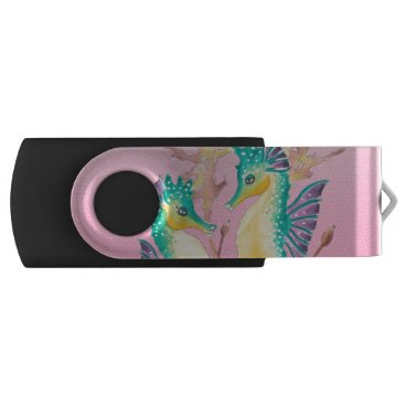 Beach Themed seahorses pink stained glass USB flash drive