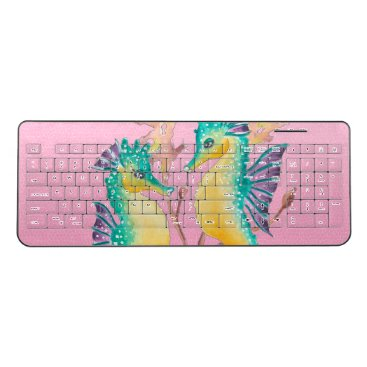 Beach Themed seahorses pink stained glass wireless keyboard