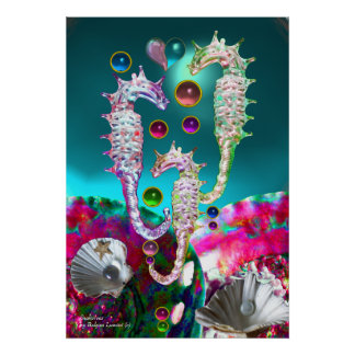 SEAHORSES , PINK TEAL BLUE MOTHER OF PEARL POSTER