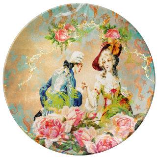 Seahorses pintados con el amor francés apenado plato de cerámica