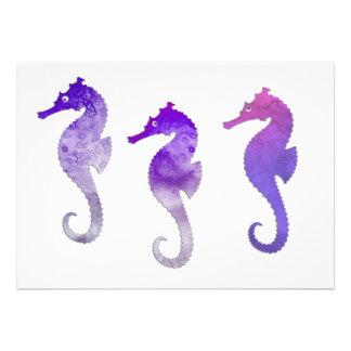 Seahorses púrpuras de la acuarela