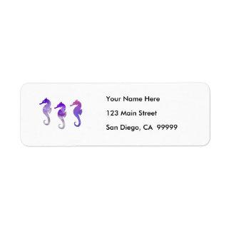 Seahorses púrpuras de la acuarela etiquetas de remite