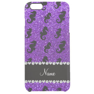 Seahorses púrpuras personalizados del brillo del funda clearly™ deflector para iPhone 6 plus de unc
