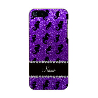 Seahorses púrpuras personalizados del brillo del funda para iPhone 5 incipio feather shine