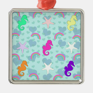 Seahorses, Rainbows and Starfish Design Metal Ornament