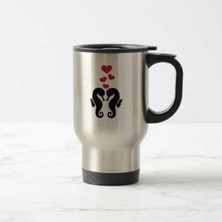 Seahorses red hearts love travel mug