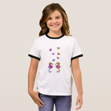 Beach Themed Seahorses Ringer T-Shirt
