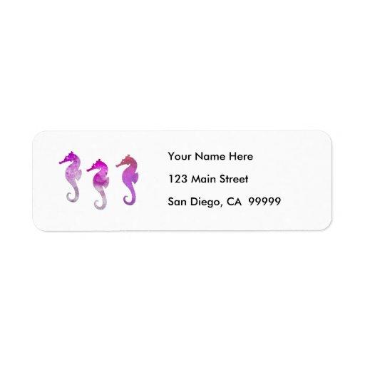 Seahorses rosados de la acuarela etiqueta de remite