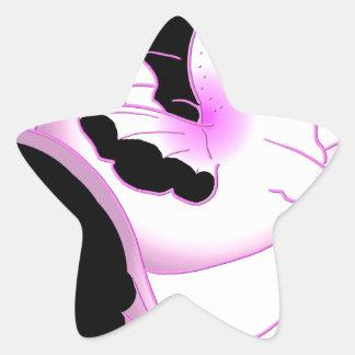 Seahorses rosados de la perla pegatina en forma de estrella