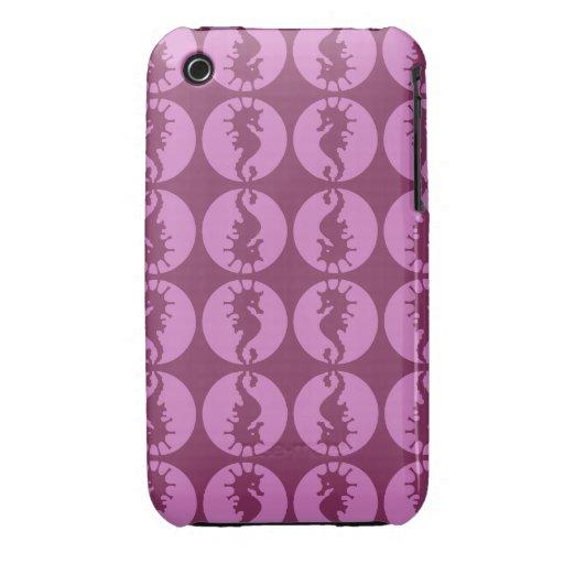 Seahorses rosados iPhone 3 Case-Mate cárcasa