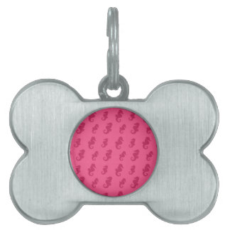 Seahorses rosados placa de nombre de mascota