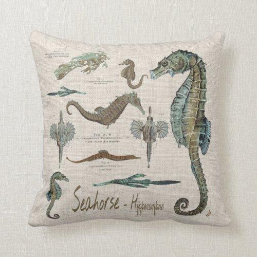 Seahorses Sea dragons and Sea pipes Throw Pillow