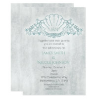 Seahorses & Seashell Beach Wedding Invitations