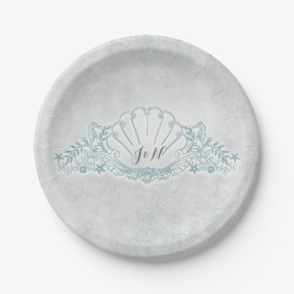 Seahorses & Seashell Beach Wedding Reception Paper Plate