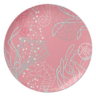 Seahorses & Seashells in Pink Tones Melamine Plate