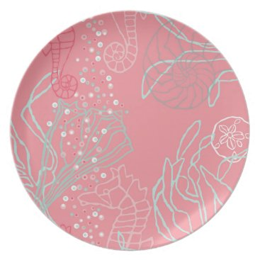 Beach Themed Seahorses & Seashells in Pink Tones Melamine Plate