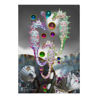 SEAHORSES SHELLS,MOTHER OF PEARL AND COLORFUL GEMS POSTER