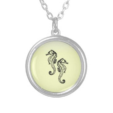Beach Themed Seahorses Silver Plated Necklace