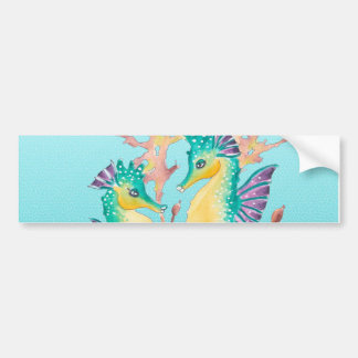 seahorses teal stainglass bumper sticker