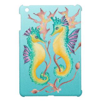 seahorses teal stainglass iPad mini cases