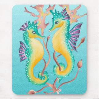 seahorses teal stainglass mouse pad