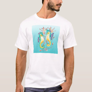 seahorses teal stainglass T-Shirt