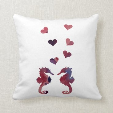 Beach Themed Seahorses Throw Pillow