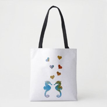 Beach Themed Seahorses Tote Bag