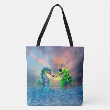 Beach Themed Seahorses Tote Bag