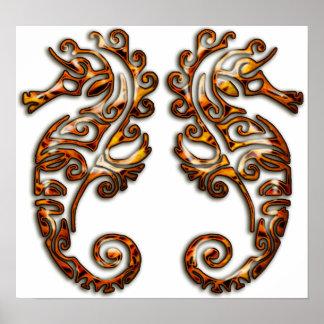 Seahorses tribales metálicos de los géminis póster