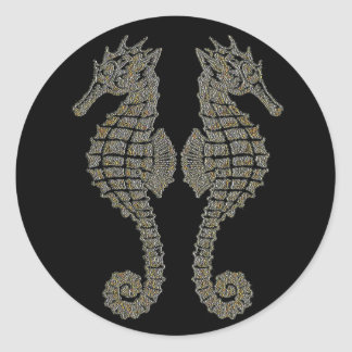 Seahorses tribales pegatina redonda