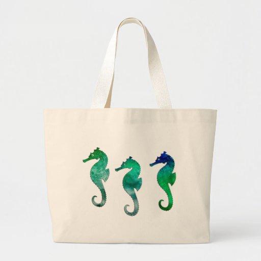 Seahorses verde oscuro de la acuarela bolsa tela grande