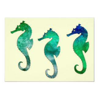 Seahorses verde oscuro de la acuarela invitaciones personales