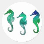 Seahorses verde oscuro de la acuarela etiquetas redondas