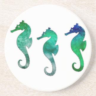 Seahorses verde oscuro de la acuarela posavasos personalizados